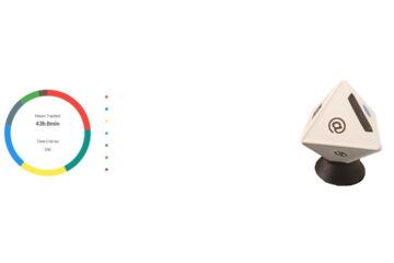 Zei Trackingtool von Timeular & buntes Kreisdiagramm der erfassten Zeit